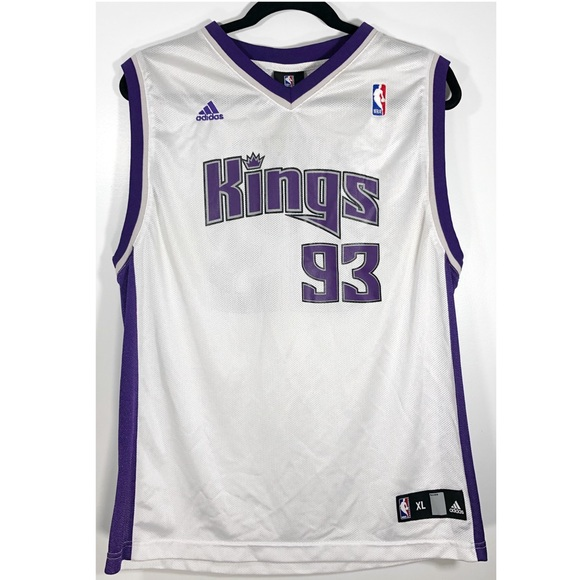 check out ef592 41462 ADIDAS• Kings White Jersey XL Youth NBA Artest